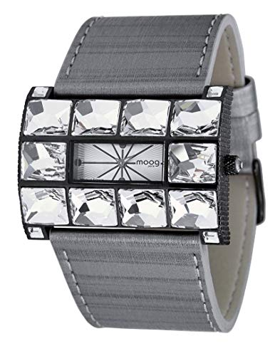Moog Paris Crystal Women's Watch with Silver Dial, Gray Genuine Leather Strap & Swarovski Elements - M45322-007
