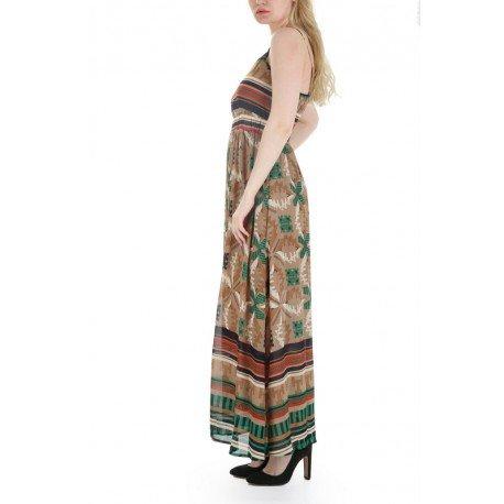 Ideal Shoes - Robe longue imprimé à bretelles Perusian Vert