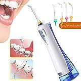 NBSXR Flosser Elettrico per Acqua, IPX7 Impermeabile e Ricaricabile Tramite USB, irrigatore Orale Dentale con Serbatoio dell'Acqua da 220 ML, per la Cura delle parentesi graffe e dei Ponti