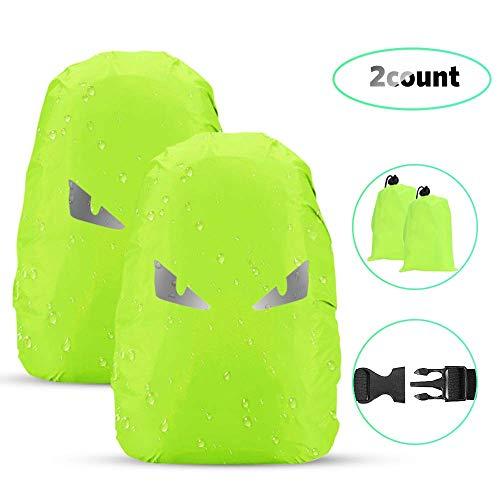 AGPTEK 2 Stück Wasserdichter Regenschutz Rucksack Cover Regenhüllen Regenabdeckung für Camping Wandern, Größe M, Grün