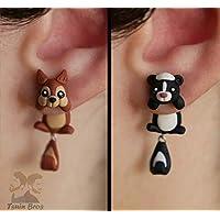 Boucles d'oreilles animaux: écureuil ou mouffette, 100% fait main. Vendu par paire.