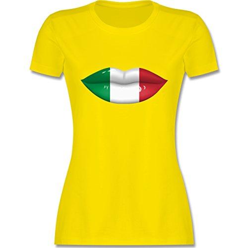 EM 2016 - Frankreich - Lippen Bodypaint Italien - tailliertes Premium T-Shirt mit Rundhalsausschnitt für Damen Lemon Gelb