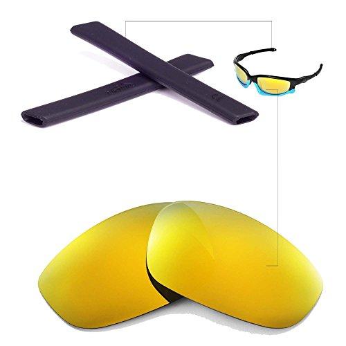 Walleva Wechselgläser Und Earsocks für Oakley Split Jacket Sonnenbrille - Mehrfache Optionen (24K Gold Polarisierte Linsen + Schwarzer Gummi)