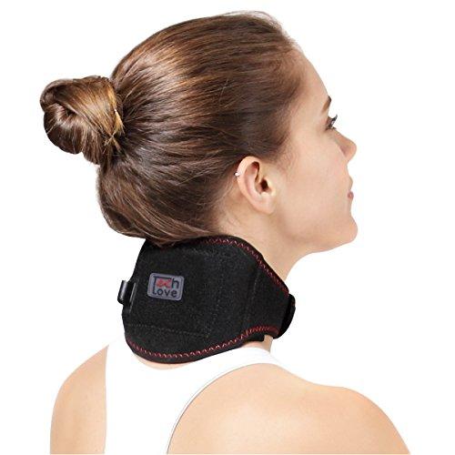 Cuello calefactado calefacción Cervical Wrap por TechLove con Moxa Bag para hombres y mujeres sufren lesión en el cuello, dolor, rigidez en el cuello, dolor de cabeza (Negro)
