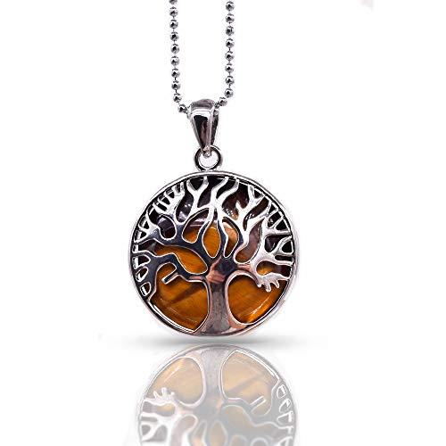 Thajaling Collar con Colgante de Piedra de Ojo de Tigre de árbol de la Vida de Plata con Gemas de curación de Chakra