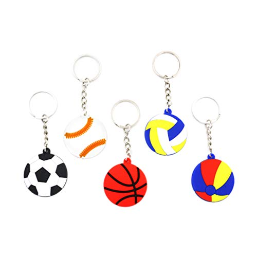 Amosfun Sports Keychains Basketball Football Volleyball Pendant New Year Goodie Bag Fillers School Carnival Reward for Boy Kids Bag Gift Favor 24pcs