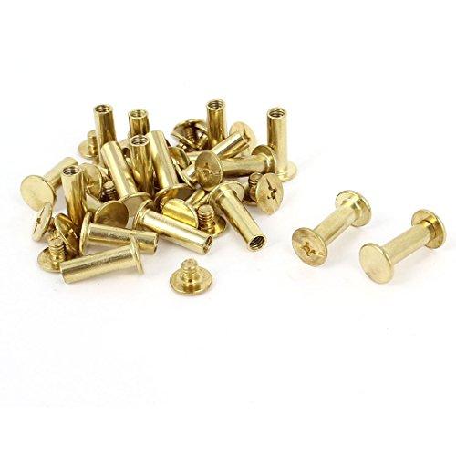 5 mm x 15 mm Leder Geldbörse Messing vergoldet Bindung Chicago Schraube Post 20 Stück