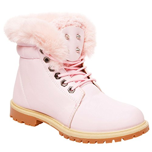 LADIES ANKLE BOOTS WOMENS FUR LINED COLLAR FLAT GRIP SOLE ARMY COMBAT...