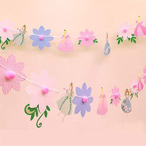 Kissherely Schöne Blume Bunting Banner Süße Fee Tanzen Prinzessin Baby Shower Dekoration Party Supplies (Dekorationen Prinzessin Baby)