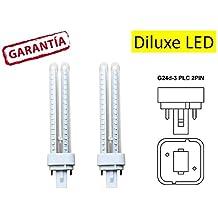 DiluxeLED - Pack x2 Lámpara Downlight LED G24 11 watios(equivalente a 110 watios ), 1250Lumen Luz Cálida