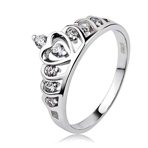 LOUMVE 925 Sterling Silber Damenringe Herz Prinzessin Krone Modeschmuck Ringe Zirkonia Hochzeit Verlobungsringe Ehering Geschenk Größe 52 (16.6)