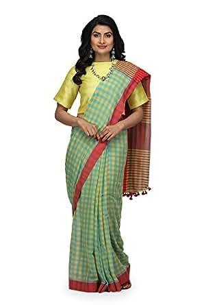b8a75d0bfe ... The Weave Traveller Handloom Women's Hand Woven Soft Cotton Gamcha/Checkered  Saree