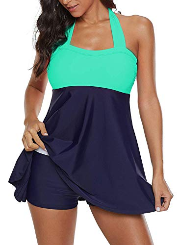 ALICECOCO Damen Neckholder Push Up Badekleid Figurformender Badeanzug mit Röckchen Bauchweg Einteiliger Badekleid (Grün, EU 42--44 (3XL)) -