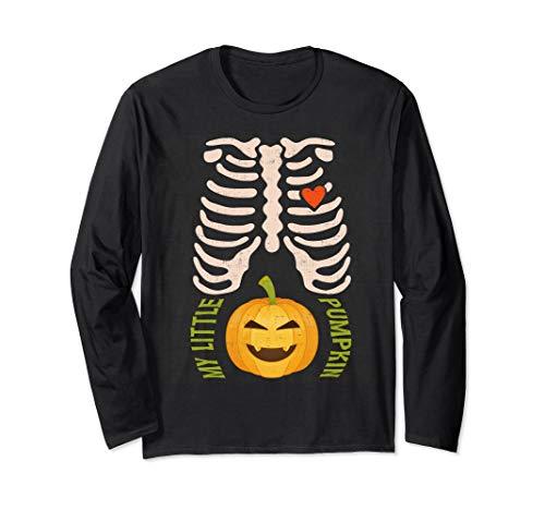 Halloween Schwangere Skelett Schwangerschaft Ankündigung Langarmshirt