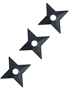 Katara 1735 Naruto Shuriken - 3 x Shuriken in plastica nera - Arma ninja a forma di stella ispirata da manga anime...