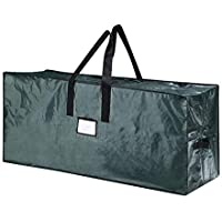 ZB Large Christmas Tree Storage Bag- Stores a 9 ft Xmas Holiday Disassembled Artificial Tree with Durable Handles & Dual Zipper-Waterproof Material Against from Dust, Moisture & Insects, Green