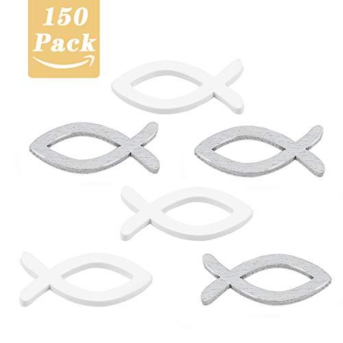 O-Kinee HolzFische Taufdeko Junge Mädchen, 150 Stücke Deko Fisch Holz Tischdeko Streudeko für Taufe Konfirmation Kommunion Tisch Deko - Silber Weiß Fisch