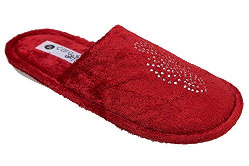 GIBRA® Damenpantoffeln mit weißer Sohle, rot, Gr. 36-42 Rot