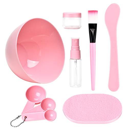 TsMADDTs - Juego de cuencos para mezclar mascarilla facial y cuidado facial para dama, juego de herramientas de mezcla, cepillo de bol, manómetro de limpieza, 9 en 1, color rosa