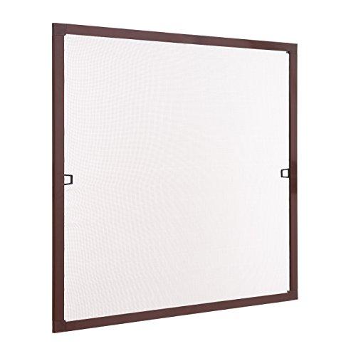 Preisvergleich Produktbild Insektenschutz Fliegengitter Fenster Spannrahmen Braun 100x130 cm (Breite X Höhe) RAL 8017