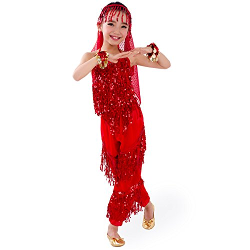 SymbolLife enfants filles Belly Dance Costume, Sarouel + Halter Top + foulard + belles parures de Bracelet Rouge