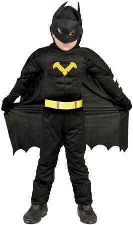 Guirca Fledermaus Superheld - Kostüm für Kinder Karneval Fasching Held Schwarz Gr 98-146, Größe:98/104
