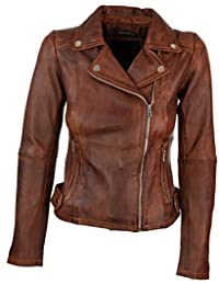Infinity Brando' Ladies Women Timber Brown Classic Biker Style Leather Jacket