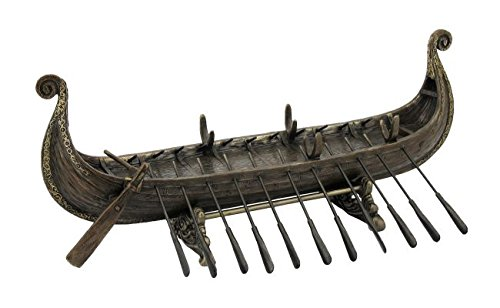 Wikingerschiff mit Rudern ohne Segel Figur Wikinger Odin