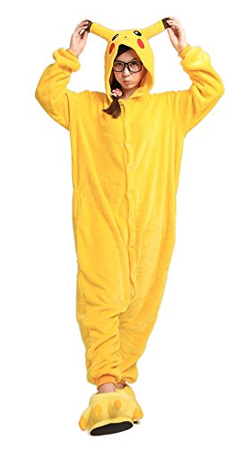 Tier Karton Fasching Halloween Kostüm Sleepsuit Cosplay Fleece-Overall Pyjama Schlafanzug Erwachsene Unisex Lounge (XL, Pikachu) (Pikachu Kostüm Frauen)