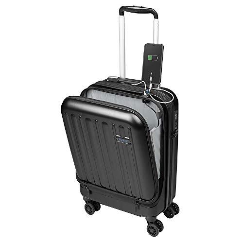 Valise Cabine avec Compartiment Ordinateur Portable Bagage à Main Trolley Rigide et Léger 4 roulettes Doubles pivotantes à 360º Serrure TSA Sulema USB (Noir)