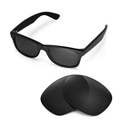 Walleva Ersatzgläser für Ray-Ban Wayfarer RB2132 52mm Sonnenbrille - Mehrfache Optionen (Schwarz)