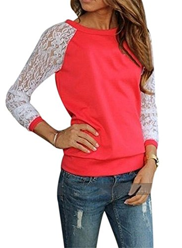Femmes Crew Neck Sexy en dentelle à manches longues Splicing Slim Fit Sweat T-shirt Top Orange