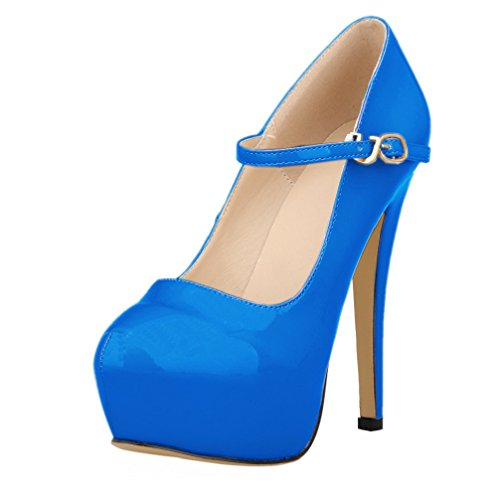 HooH Femmes Platform Boucle Cheville Boucle Mariage Pumps Bleu Ciel