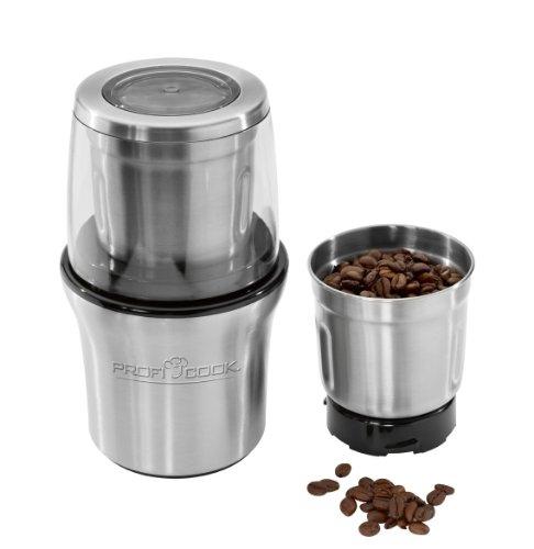 ProfiCook PC-KSW 1021 Molinillo de café eléctrico + Picador Multiusos, Acero Inoxidable, 200w, 200 W, Negro