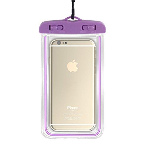 zoohot Custodia impermeabile Dry Bag con cordino di classe, adatta per iPhone 6/6S Plus 5S SE, Galaxy S5, S6, S7Blu LG, Motorola, Nokia, HTC, HUAWEI, Sony e altri, 17,8x 10,2cm, Pink,Purple Pink,Purple
