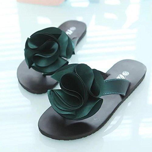 Hunpta Pantoffel flache Schuhe Flower Lady Freizeit Sandalen Outdoor Damenschuhe Grün