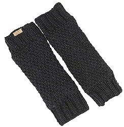 Guru-Shop Wollstulpen mit Perlmuster, Strickstulpen aus Nepal, Beinstulpen, Herren/Damen, Schwarz, Wolle, Size:One Size, Socken & Beinstulpen Alternative Bekleidung