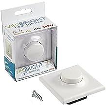 Variador regulador LED y halógeno - máx. 200W, ajuste de luz para los LED y las bombillas tradicionales, apto para interruptores unidireccionales y bidireccionales, borde delantero y trasero, color blanco puro