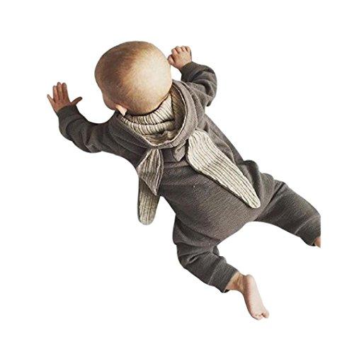 Baby Jumpsuit ZIYOU Jungen Warme Baumwolle Kapuze Strampler jacke mit ohren Grau (3M) (5k Jacke)