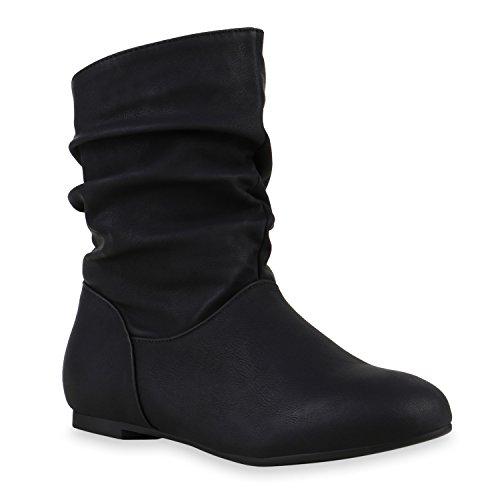 Damen Lederoptik Schlupfstiefel Komfort Stiefeletten Schuhe Schwarz qwxHRqApn