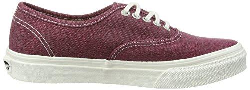 Vans AUTHENTIC SLIM, Damen Sneakers Black (Stripes - Washed/Tawny Port)