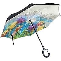 BENNIGIRY - Paraguas inverso plegable de doble capa con diseño de tulipanes de acuarela, resistente al viento, protección UV, gran paraguas recto, ...