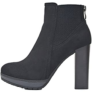 6c254e4472ab0d Kayla Shoes Chelsea Boots Plateau Stiefeletten mit Blockabsatz in Holzoptik  (41