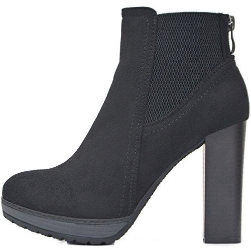 Kayla Shoes Chelsea Boots Plateau Stiefeletten mit Blockabsatz in Holzoptik (38, Schwarz ()