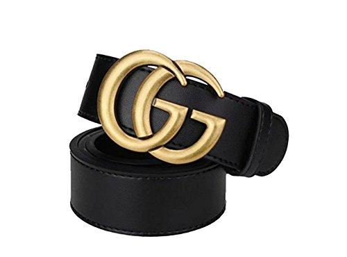 Mode schwarz gold Schnalle GG Frau Casual Gürtel (Breite 3,5 cm schwarzer Körper) (Schwarz/Gold Schnalle, 110cm)