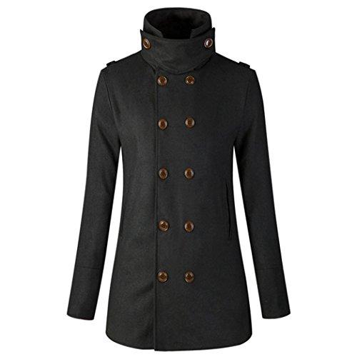 Mantel Damen DAY.LIN Frauen Warme Jacke Mantel Outwear Schlank Zweireiher Lange Trenchcoat (2XL, Schwarz)