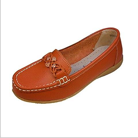 WJLMALL Minitoo donna sportiva in pelle scamosciata Comfort scarpe da guida esterna barca Mocassini Mocassini ( Color : Red , Size : UK6 )