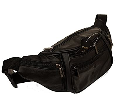 Pour Femme En Cuir Homme Sac Banane Sac Ceinture Sac Banane Doggy Bag Mi 4poches et ceinture réglable cuir nappa noir