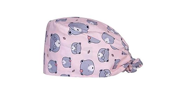 L/&H Regolabile Tie Indietro Stampa del Cotone del Cappello della Protezione Infermiere Medico Lavoro cap cap