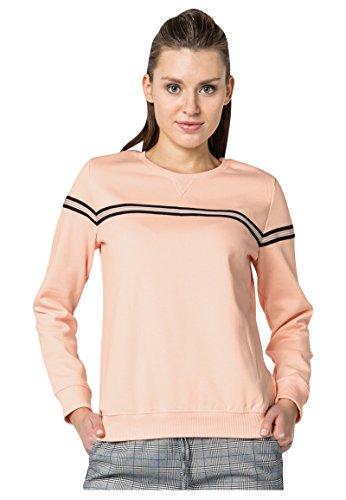ROCK ANGEL Damen Sweat-Pullover mit gestreiftem Band   Sportliches Basic Sweatshirt light-rose M